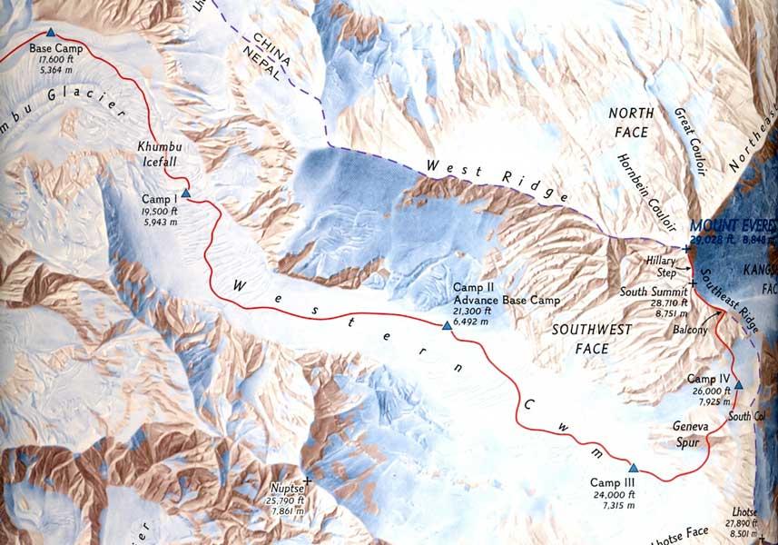 Маршрут первого восхождения на Эверест