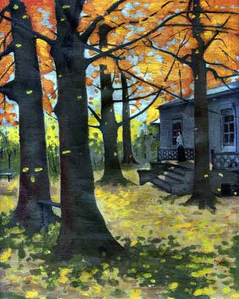 Болдинская осень. Андреев Г.Г., февраль 1959, масло, холст, 22х27,5 см
